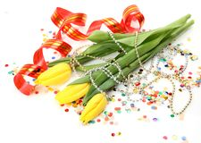 Tulips and streamer Royalty Free Stock Photography