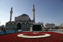 Tulips and Sultan Selim Mosque Royalty Free Stock Photos