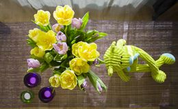Tulips on the table Stock Photos
