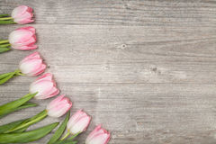 Tulips on table (copy space) Stock Photo