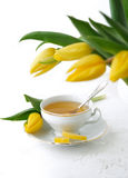Tulips and tea Royalty Free Stock Image
