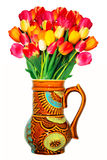 Tulips in vase. Isolated on white Stock Photos