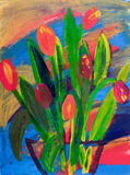 Tulips in a vase painting in acrylic Stock Photos