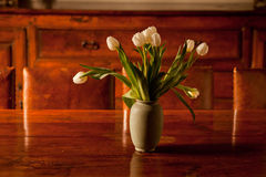 Tulips in Vase on Table Royalty Free Stock Photography
