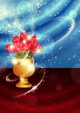 Tulips in vase on table. Red tulips in golden vase on table with red cloth Royalty Free Stock Photography