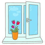 Tulips in a vase on a window sill Royalty Free Stock Images