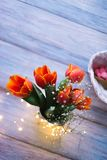 Tulips in a vase on a wooden background.  Royalty Free Stock Images