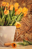 Tulips with vintage grunge background Stock Image
