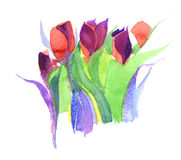 Tulips, watercolor. Watercolor background with geometric pattern stock illustration