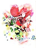 Tulips watercolor wet drops color splash. Fantasy tulips made with watercolor, paper with ink, paints and brushes. Wet tulips multicolor flowers created a good vector illustration
