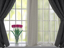 Tulips on a windowsill. Stock Photos