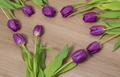 Tulips on a wooden background. Tulips lying on a wooden background Royalty Free Stock Photo