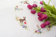 Tulips on a wooden background. Tulips lying on a wooden background Stock Photos