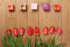 Tulips are on wooden boards arranged in a row, place for text, many small gifts, greeting concept Stock Photography