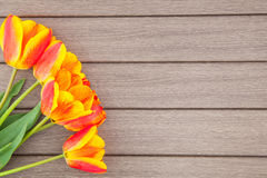 Tulips on wooden Royalty Free Stock Images