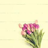 Tulips on wooden texture Royalty Free Stock Photo