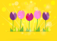 Tulips on yellow bokeh. Spring background. Stock Photo