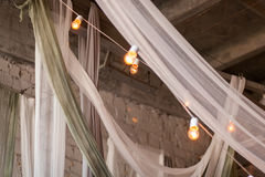 Tulle in loft bedroom Stock Photography