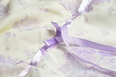 Tulle with ribbon and bow Stock Photo