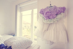 Tulle skirt in a bedroom Stock Photos
