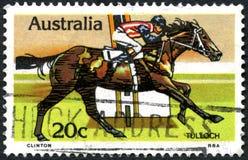 Tulloch Racehorse Australian Postage Stamp. AUSTRALIA - CIRCA 1978: A used postage stamp from Australia, depicting an illustration of historic racehorse Tulloch Royalty Free Stock Photos