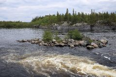 The Tuloma river in tundra Stock Image