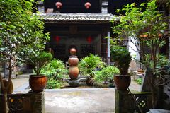 Tulou garden. Garden of a hakka village, a place where honeywine is made Royalty Free Stock Photos