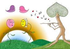 Tulp en madeliefjebloem die op een muziek van de boomfluit dansen Stock Foto's