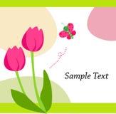 Tulp en vlinder stock illustratie