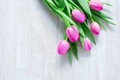 Tulpan blommar på trätabellen för mars 8, internationella kvinnor Arkivbild