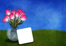 Tulpan i en vasgreetingcard Royaltyfri Bild