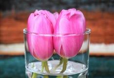 Tulpan i små rosa tulpan för en vas i en vas med målad träbakgrund Royaltyfri Bild