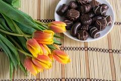 Tulpan och chokladgodisar Fotografering för Bildbyråer