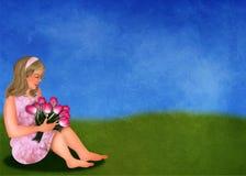 Tulpan och flicka på en springmeadow Fotografering för Bildbyråer