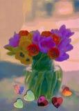 Tulpan och hjärtor flod för målning för skogliggandeolja Royaltyfria Bilder