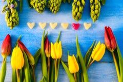Tulpan och hyacinter arkivfoto
