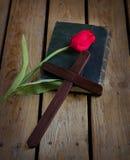 Tulpan på en bibel Royaltyfria Foton