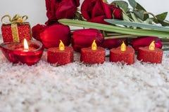 Tulpan rosor blommar, och hjärta formade stearinljuset på en snö som bakgrund royaltyfri fotografi