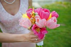 Tulpan som gifta sig buketten Royaltyfri Bild