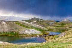 Tulpar Kul湖看法在风暴期间的吉尔吉斯斯坦 库存图片