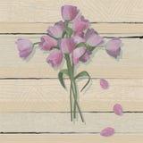 Tulpe-Ostern-Kreuz auf einem verwitterten hölzernen Hintergrund stock abbildung