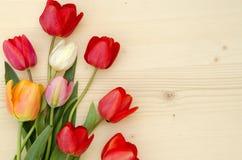 Tulpen auf einem hellen hölzernen Hintergrund Romantisches Bild Stockfotos