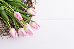 Tulpen auf hölzerner Tabelle Lizenzfreies Stockbild
