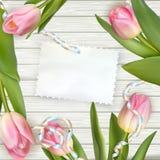 Tulpen, die auf einer weißen strukturierten Tabelle liegen ENV 10 Lizenzfreie Stockbilder