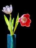Tulpen in einem blauen Vase lizenzfreie stockfotos