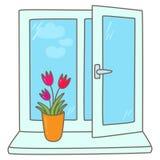 Tulpen in einem Vase auf einem Fensterbrett vektor abbildung
