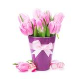 Geïsoleerdeg tulpen en eieren Stock Afbeeldingen