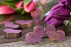 Tulpen en harten Royalty-vrije Stock Foto's