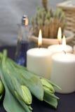 Tulpen en kaarsen stock fotografie