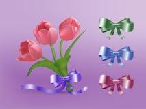 Tulpen en lint Royalty-vrije Stock Foto